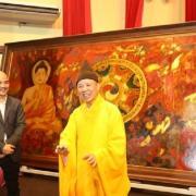 """Tranh vẽ HCM ngồi ngang Phật Thích Ca: """"Phật giáo quốc doanh thời mạt pháp"""""""