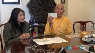 Hòa thượng Thích Quảng Thanh họp báo giao số tiền $27,000