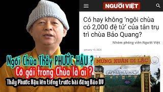 Chùa Bảo Quang - Thầy PHƯỚC HẬU lên tiếng trước bài đăng Báo Người Việt